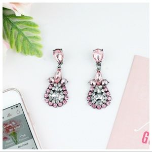 """""""Madison"""" Clear Crystal Statement Earrings - Pink"""